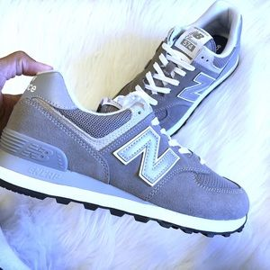 New Balance Grey White Classic 574 Sneakers 8 B